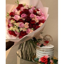 101 Pink & Red Roses