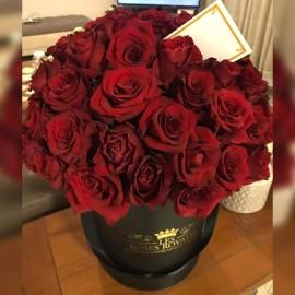 Big black box 70 roses rouges