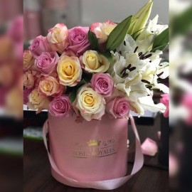 Mix Roses Et Lys Blanches